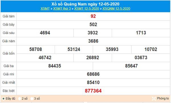 Soi cầu XSQNM 19/5/2020 - KQXS Quảng Nam thứ 3
