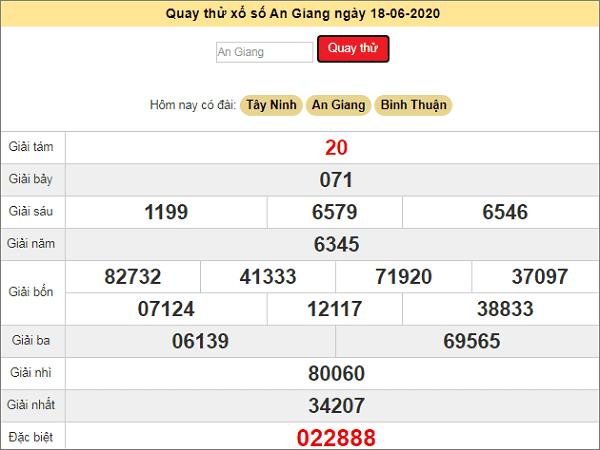 Quay thử xổ số An Giang ngày 18 tháng 6 năm 2020
