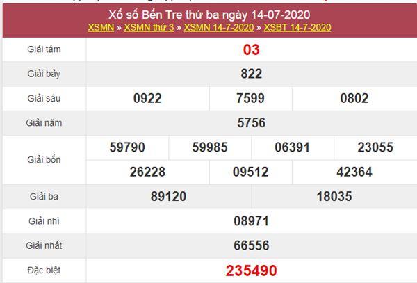 Thống kê XSBT 21/7/2020 chốt KQXS Bến Tre thứ 3