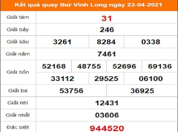 Quay thử xổ số Vĩnh Long ngày 23/4/2021